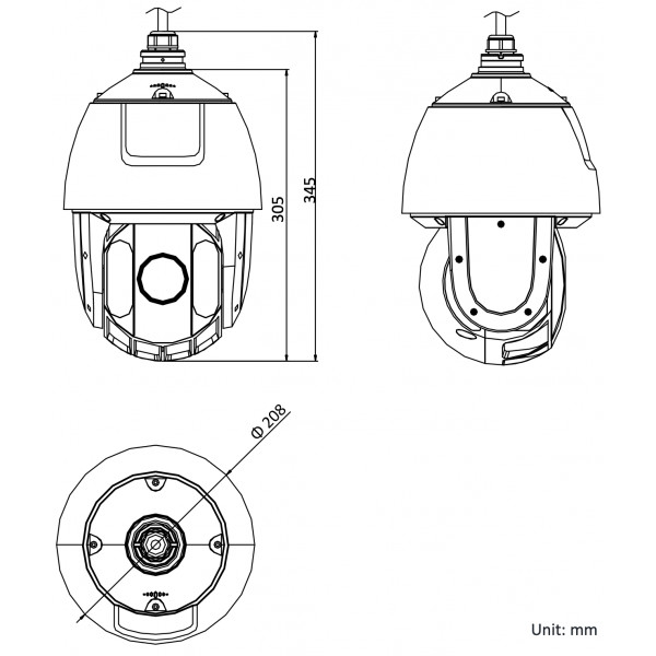 Caméra surveillance Dôme IP PTZ 360° POE IR 150M 4MP Auto-Tracking ONVIF HIKVISION DS-2DE5425IW-AE