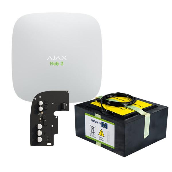 Pack Alarme maison sans fil HUB 2 AJAX + batterie autonomie 7 mois