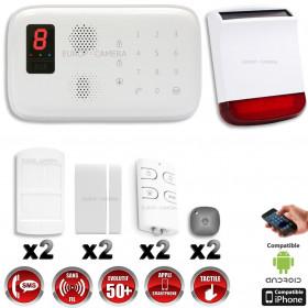 Système d'alarme sans fil GSM + sirène flash solaire avec batterie