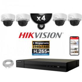 Kit Vidéo Surveillance PRO IP HIKVISION : 4x Caméras POE Dômes IR 30M 4 MP + Enregistreur NVR 4 canaux H265+ 2000 Go