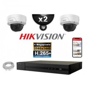Kit Vidéo Surveillance PRO IP HIKVISION : 2x Caméras POE Dômes IR 30M 4 MP + Enregistreur NVR 4 canaux H265+ 1000 Go