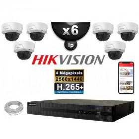 Kit Vidéo Surveillance PRO IP HIKVISION : 6x Caméras POE Dômes IR 30M 4 MP + Enregistreur NVR 8 canaux H265+ 2000 Go
