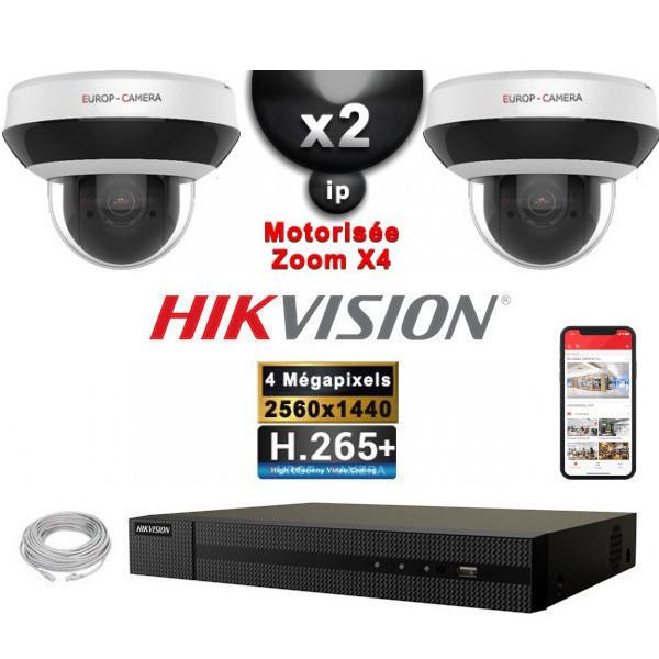 Kit Vidéo Surveillance PRO IP HIKVISION : 2x Caméras POE Dômes motorisée IR 20M 4MP + Enregistreur NVR 4 canaux H265+ 1000 Go