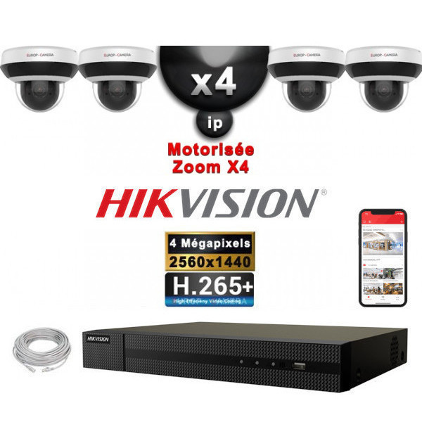 Kit Vidéo Surveillance PRO IP HIKVISION : 4x Caméras POE Dômes motorisée IR 20M 4MP + Enregistreur NVR 4 canaux H265+ 2000 Go