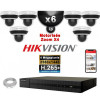 Kit Vidéo Surveillance PRO IP HIKVISION : 6x Caméras POE Dômes motorisée IR 20M 4MP + Enregistreur NVR 8 canaux H265+ 2000 Go