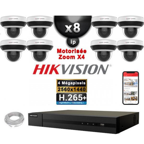 Kit Vidéo Surveillance PRO IP HIKVISION : 8x Caméras POE Dômes motorisée IR 20M 4 MP + Enregistreur NVR 8 canaux H265+ 3000Go
