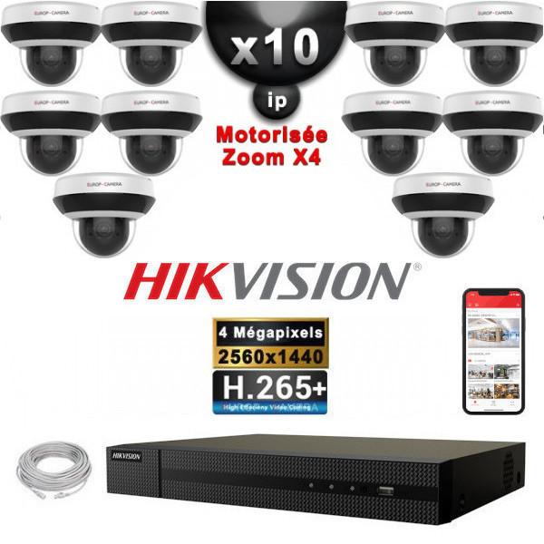 Kit Vidéo Surveillance PRO IP 10x Caméras POE Dômes PTZ motorisée IR 20M 4 MegaPixels + Enregistreur NVR 16 canaux H265+ 3000Go