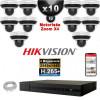 Kit Vidéo Surveillance PRO IP HIKVISION : 10x Caméras POE Dômes motorisée IR 20M 4 MP + Enregistreur NVR 16 canaux H265+ 3000Go