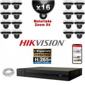 Kit Vidéo Surveillance PRO IP 16x Caméras POE Dômes PTZ motorisée IR 20M 4 MegaPixels + Enregistreur NVR 25 canaux H265+ 3000Go