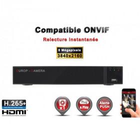 Enregistreur numérique NVR réseau 9 canaux H264+ / H265+ IP ONVIF UHD 4K 5MP 3MP 1080P FULL HD