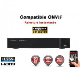 Enregistreur numérique NVR réseau 16 canaux H264+ / H265+ IP ONVIF UHD 4K 5MP 3MP 1080P FULL HD