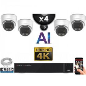 Kit Vidéo Surveillance PRO IP 4x Caméras POE Dômes AI IR 30M Capteur SONY UHD 4K + Enregistreur NVR 8 canaux H265+ 3000 Go