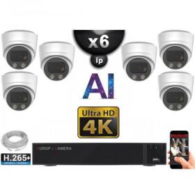 Kit Vidéo Surveillance PRO IP 6x Caméras POE Dômes AI IR 30M Capteur SONY UHD 4K + Enregistreur NVR 8 canaux H265+ 3000 Go