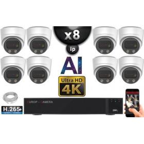 Kit Vidéo Surveillance PRO IP 8x Caméras POE Dômes AI IR 30M Capteur SONY UHD 4K + Enregistreur NVR 10 canaux H265+ 3000 Go