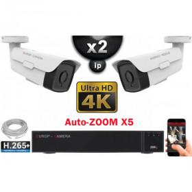 Kit Vidéo Surveillance PRO IP 2x Caméras POE Tubes AUTOZOOM X5 IR 60M UHD 4K + Enregistreur NVR 8 canaux H265+ 4K 2000 Go