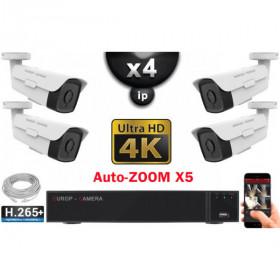 Kit Vidéo Surveillance PRO IP 4x Caméras POE Tubes AUTOZOOM X5 IR 60M UHD 4K + Enregistreur NVR 8 canaux H265+ 4K 3000 Go