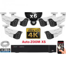 Kit Vidéo Surveillance PRO IP 6x Caméras POE Tubes AUTOZOOM X5 IR 60M UHD 4K + Enregistreur NVR 8 canaux H265+ 4K 3000 Go