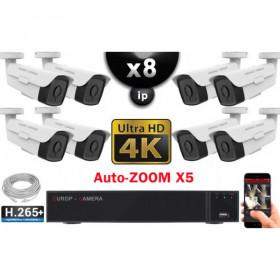 Kit Vidéo Surveillance PRO IP 8x Caméras POE Tubes AUTOZOOM X5 IR 60M UHD 4K + Enregistreur NVR 10 canaux H265+ 4K 3000 Go