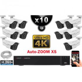 Kit Vidéo Surveillance PRO IP 10x Caméras POE Tubes AUTOZOOM X5 IR 60M UHD 4K + Enregistreur NVR 30 canaux H265+ 4K 3000 Go