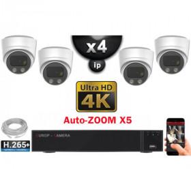 Kit Vidéo Surveillance PRO IP 4x Caméras POE Dômes AUTOZOOM X3 IR 30M UHD 4K + Enregistreur NVR 8 canaux H265+ 4K 3000 Go