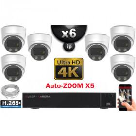 Kit Vidéo Surveillance PRO IP 6x Caméras POE Dômes AUTOZOOM X3 IR 30M UHD 4K + Enregistreur NVR 8 canaux H265+ 4K 3000 Go