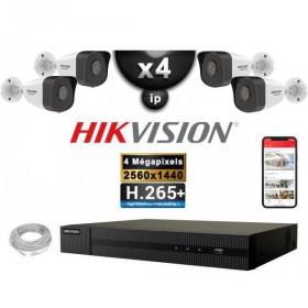 Kit Vidéo Surveillance PRO IP HIKVISION : 4x Caméras POE Tubes IR 30M 4 MP + Enregistreur NVR 4 canaux H265+ 2000 Go