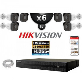 Kit Vidéo Surveillance PRO IP HIKVISION : 6x Caméras POE Tubes IR 30M 4 MP + Enregistreur NVR 8 canaux H265+ 2000 Go