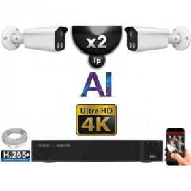 Kit Vidéo Surveillance PRO IP 2x Caméras POE Tubes AI IR 25M Capteur SONY UHD 4K + Enregistreur NVR 8 canaux H265+ 2000 Go