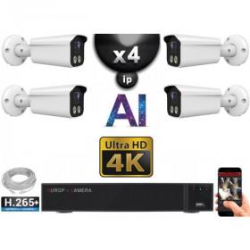 Kit Vidéo Surveillance PRO IP 4x Caméras POE Tubes AI IR 25M Capteur SONY UHD 4K + Enregistreur NVR 8 canaux H265+ 3000 Go