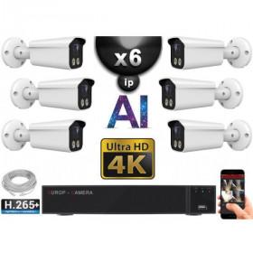 Kit Vidéo Surveillance PRO IP 6x Caméras POE Tubes AI IR 25M Capteur SONY UHD 4K + Enregistreur NVR 8 canaux H265+ 3000 Go