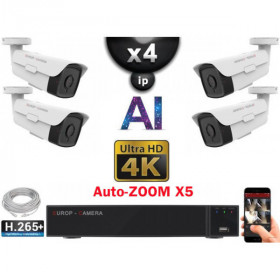 Kit Vidéo Surveillance PRO IP 4x Caméras POE Tubes AI AUTOZOOM X5 IR 60M UHD 4K + Enregistreur NVR 8 canaux H265+ 4K 3000 Go