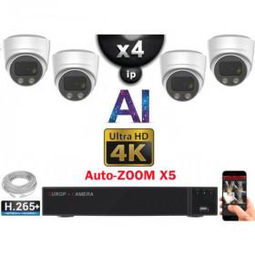 Kit Vidéo Surveillance PRO IP 4x Caméras POE Dômes AI AUTOZOOM X5 IR 30M UHD 4K + Enregistreur NVR 8 canaux H265+ 4K 3000 Go