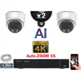 Kit Vidéo Surveillance PRO IP 2x Caméras POE Dômes AI AUTOZOOM X5 IR 30M UHD 4K + Enregistreur NVR 8 canaux H265+ 4K 2000 Go