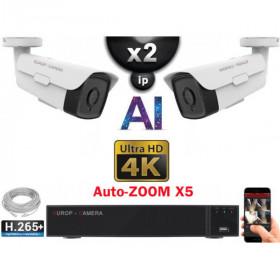 Kit Vidéo Surveillance PRO IP 2x Caméras POE Tubes AI AUTOZOOM X5 IR 60M UHD 4K + Enregistreur NVR 8 canaux H265+ 4K 2000 Go