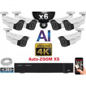 Kit Vidéo Surveillance PRO IP 6x Caméras POE Tubes AI AUTOZOOM X5 IR 60M UHD 4K + Enregistreur NVR 8 canaux H265+ 4K 3000 Go