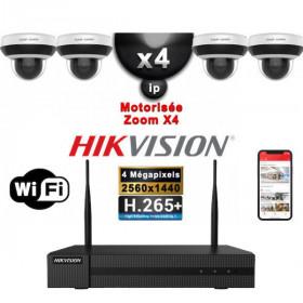 Kit Vidéo Surveillance PRO IP HIKVISION : 4x Caméras WIFI Dômes motorisée IR 20M 4MP + Enregistreur NVR 8 canaux H265+ 2000 Go