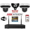 Kit Vidéo Surveillance PRO IP HIKVISION : 2x Caméras WIFI Dômes motorisée IR 20M 4MP + Enregistreur NVR 8 canaux H265+ 1000 Go