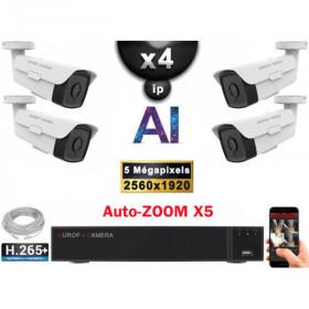 Kit Vidéo Surveillance PRO IP : 4x Caméras POE Tubes AI AUTOZOOM X5 IR 60M SONY 5 MP + Enregistreur NVR 9 canaux H265+ 2000 Go