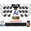 Kit Vidéo Surveillance PRO IP : 16x Caméras POE Tubes AI AUTOZOOM X5 IR 60M SONY 5 MP + Enregistreur NVR 25 canaux H265+ 3000 Go