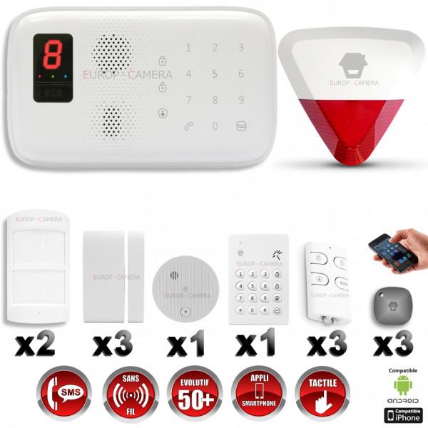Système d'alarme sans fil GSM immunité animaux : INCENDIE + CLAVIER + sirène flash avec batterie CHUANGO O3 / G5 / S5
