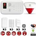 Système d'alarme sans fil GSM + sirène flash avec batterie