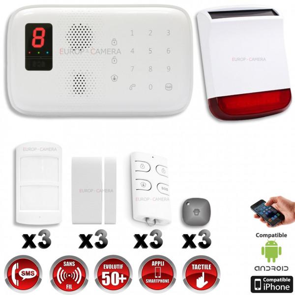 Fantastique Système d'alarme sans fil GSM immunité animaux + sirène flash QZ-09