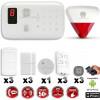 Système d'alarme sans fil GSM immunité animaux : INCENDIE + sirène flash avec batterie CHUANGO O3