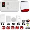 Système d'alarme sans fil GSM : INCENDIE + sirène flash solaire avec batteriens fil GSM + sirène flash solaire avec batterie