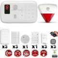 Système d'alarme sans fil GSM : INCENDIE + CLAVIER + sirène flash avec batterie