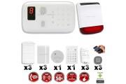 Système d'alarme sans fil GSM immunité animaux : INCENDIE + CLAVIER + sirène flash solaire avec batterie / G5 / S5