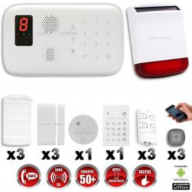 Système d'alarme sans fil GSM immunité animaux : INCENDIE + CLAVIER + sirène flash solaire avec batterie CHUANGO O3 / G5 / S5