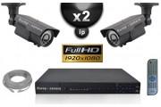 Kit Vidéo Surveillance PRO IP : 2x Caméras Tubes IR 60M CMOS 1080P Compatible IPHONE + Enregistreur NVR H264 FULL HD 2000 Go