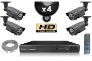 Kit Vidéo Surveillance PRO IP : 4x Caméras Tubes IR 60M CMOS 720P Compatible IPHONE + Enregistreur NVR H264 FULL HD 2000 Go