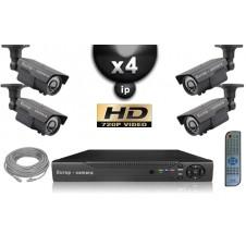 KIT VIDÉO SURVEILLANCE PRO IP : 4X CAMÉRAS POE TUBES IR 60M SONY HD 960P + ENREGISTREUR NVR 8 CANAUX H264 FULL HD 2000 GO